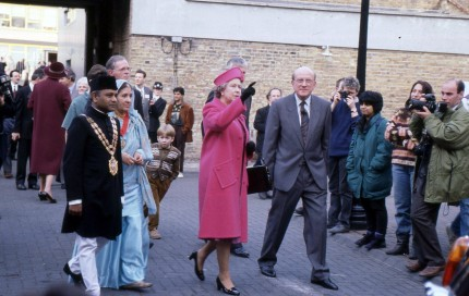 The Queen with the local mayor at Perseverance Works