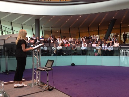 GLA's Debbie Jackson welcomes delegates at the conference